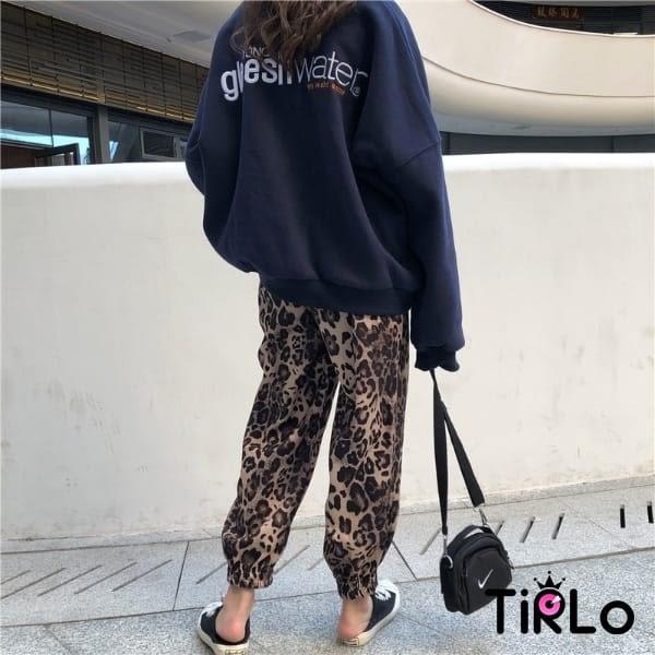 長褲-Tirlo-舒適鬆緊束口豹紋褲-一色