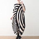 洋裝-長款寬版時尚獨特不規則條紋女連身裙73sm11[巴黎精品]