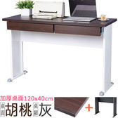 Homelike 格雷120x40工作桌 加厚桌面(附二抽) 胡桃桌面/灰腳