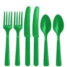 塑膠刀叉匙24入-森林綠