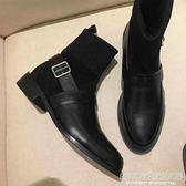 襪靴 短靴女平底英倫短筒漆皮黑色毛線口針織襪靴粗跟馬丁靴 JD 宜室家居
