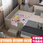 實木松木布藝兒童床帶護欄女孩公主床男孩寶寶邊床加寬加長拼接床