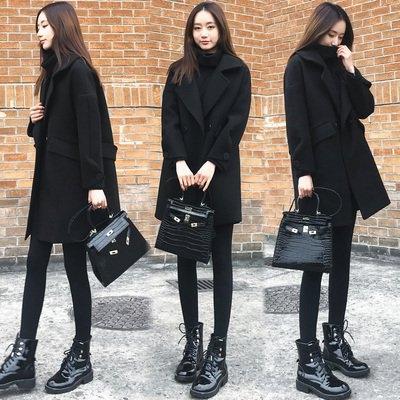 現貨 黑L 胖MM韓版寬松顯瘦黑色呢子大衣中長款毛呢外套女潮3F057.6015胖胖唯衣