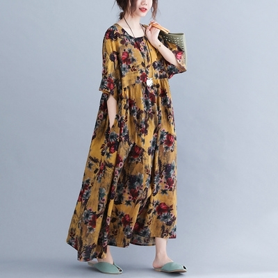 棉麻洋裝長版連身裙韓版復古加肥加大胖MM寬松顯瘦短袖連身裙長裙MC062.胖丫