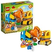 積木得寶系列10812卡車和挖掘車套裝積木玩具xw