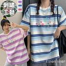 EASON SHOP(GQ2211)實拍漸層條紋繽紛撞色字母塗鴉落肩寬鬆圓領五分半袖短袖棉T恤女上衣服內搭衫休閒