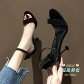 高跟鞋 2019新款黑色露趾一髮帶扣細跟拖鞋女仙女風夏網紅髮帶百搭高跟鞋 3色34-39