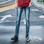 牛仔褲 反白壓痕抽鬚破壞牛仔褲【KH8929】青山AOYAMA