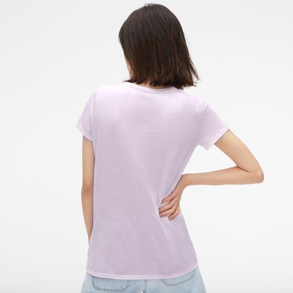 Gap女裝 純棉復古短袖圓領T恤夏裝 女士基礎款內搭上衣 231912-薰衣草色