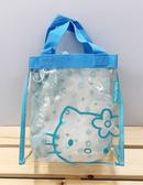 【震撼精品百貨】Hello Kitty_凱蒂貓~Sanrio HELLO KITTY防水收納包/透明手提包-藍#20087