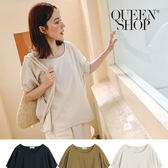 Queen Shop【01096215】簡約素色鬆緊袖造型棉麻上衣 三色售*現+預*