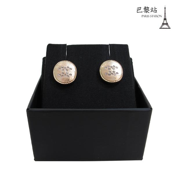 【巴黎站二手名牌專賣店】*全新現貨*CHANEL 香奈兒 真品*AB2146古埃及設計水鑽橢圓穿式耳環