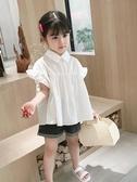 女童洋氣夏裝寶寶白色襯衫兒童韓版襯衣小童公主上衣娃娃衫超洋氣