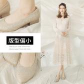 Ann'S璀璨流線手工燙鑽-尖頭舒適低跟婚鞋3.5cm-金