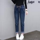 中大尺碼長褲 加肥加中大尺碼女褲200斤胖妹妹新款正韓顯瘦胖仙女寬鬆高腰牛仔褲子
