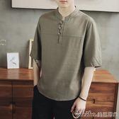 中國風棉麻t恤男裝中式短袖麻料盤扣中袖上衣大碼亞麻T恤夏季寬鬆 美芭