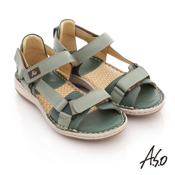 A.S.O 頂級氣墊 全真皮雙魔鬼氈奈米鞋墊涼鞋-綠