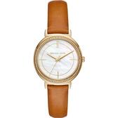 【台南 時代鐘錶 Michael Kors】MK2712 低調奢華晶鑽時尚腕錶 皮帶 金/蝶貝 35mm 公司貨開發票