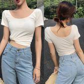 白色短袖t恤女新款緊身圓領半袖韓國修身學生夏純色棉打底衫   檸檬衣舍