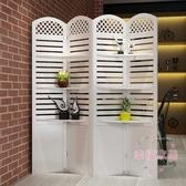 屏風 折屏簡約現代臥室隔斷玄關時尚客廳雕花折疊置物架田園xw