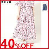荷葉裙襬 碎花裙 約會 純棉 鬆緊帶 日本品牌【coen】