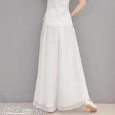 褲裙 白色雪紡闊腿褲女夏季薄款高腰垂感飄逸休閑寬鬆百搭顯瘦長褲裙褲 小宅女
