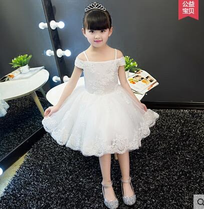 兒童公主裙花童禮服婚紗女童蓬蓬裙小女孩主持人演出服晚禮服夏季