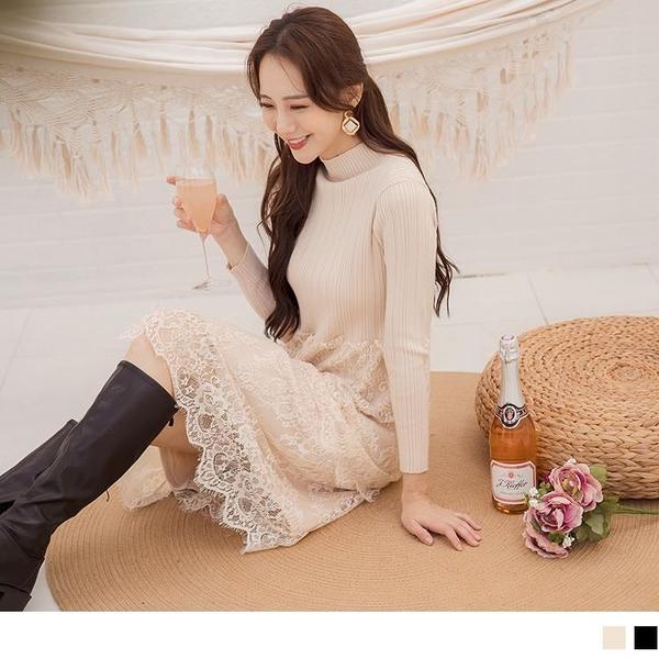 《FA2376》純色高領坑條細針織毛衣拼接層次蕾絲長洋裝--適 3L~4L OrangeBear
