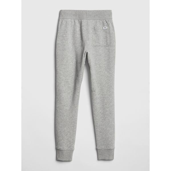 Gap男童 刷毛鬆緊腰束口運動褲 418811-麻灰色