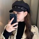 八角帽 貝雷帽女韓版潮ins秋冬季英倫復古日繫黑色蓓蕾畫家報童八角帽子『女生配飾』