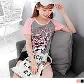 《AA4614》含棉粉色老虎印花棒球T長版上衣 OrangeBear