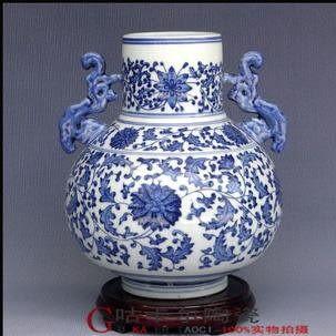 景德鎮 陶瓷器 花瓶 如意雙耳瓶