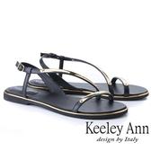 2019春夏_Keeley Ann金屬飾釦 金屬條帶環繞平底涼鞋(黑色)