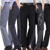 夏季薄款中年老人寬鬆男西褲中年男士高腰休閒褲父親裝免燙男長褲 【PINK Q】