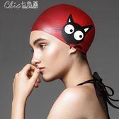 游泳帽泳帽硅膠女防水大號可愛時尚貓長髪護耳成人男兒童女童「Chic七色堇」