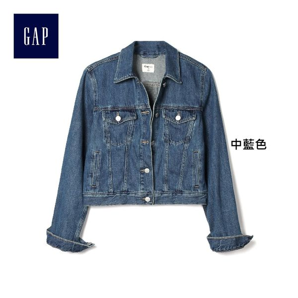 Gap女裝 旗幟圖案靛藍水洗牛仔夾克 838534-中藍色