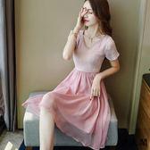 雪紡連衣裙港味褶皺奶油裙文藝