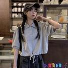 短袖POLO衫 polo衫短袖t恤女純棉夏季2021新款韓版寬鬆學生短款露臍上衣潮寶貝計畫 上新