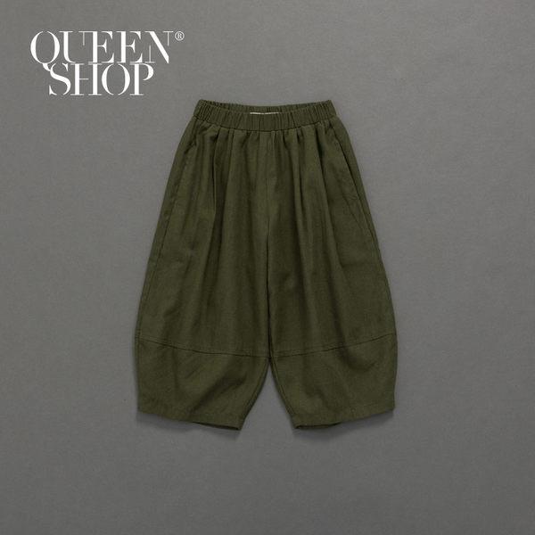 Queen Shop【04080123】童裝 親子系列 剪接鬆緊寬褲 兩色售 S/M/L*現+預*