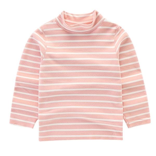 長袖上衣 棉質高領上衣 加絨套頭T恤 粉色條紋 休閒家居服 ZS3953 秋冬童裝