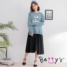 betty's貝蒂思 條紋拼布中長裙(黑...
