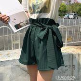 蝴蝶結高腰休閒短褲女夏季2018新款韓版寬鬆顯瘦寬管褲學生熱褲潮·Ifashion