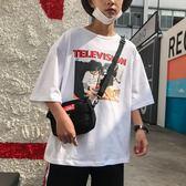 男士夏季短袖白色T恤港風寬鬆百搭五分袖韓版潮流圓領印花男體恤 免運快速出貨