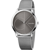 Calvin Klein CK Minimal 經典大LOGO手錶-灰x銀/40mm K3M21123