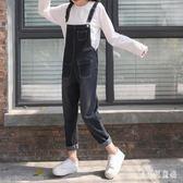 口袋九分牛仔背帶褲 2018秋新款寬鬆休閒女學生吊帶褲 BF13266『寶貝兒童裝』