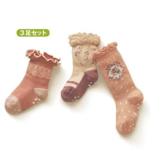 【發現。好貨】日單 新千趣會女寶寶花邊松口襪 木耳邊兒童襪 女童襪 有防滑顆粒 三入一組