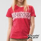 PolarStar 女 吸排圓領印花上衣『玫瑰紅』P19158 露營.戶外.吸濕.排汗.透氣.保暖.快乾.輕量.排汗衣