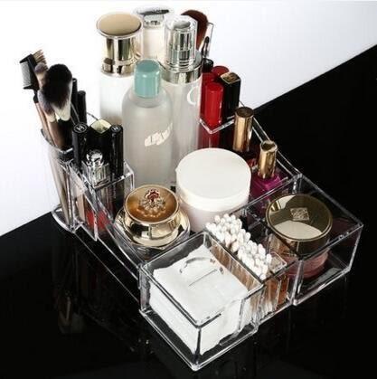 超厚進口亞克力透明化妝品收納盒 化妝棉棉籤整理盒多功能化妝盒LJ-818403