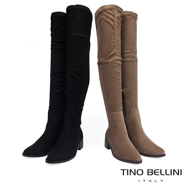 Tino Bellini 經典原色麂皮中跟過膝長靴 _ 駝 FS8510