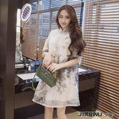 歐根紗中國風女裝復古民族風連身裙夏